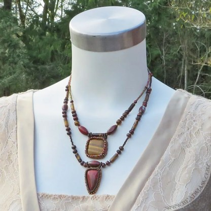 beaded gemstone layering necklaces