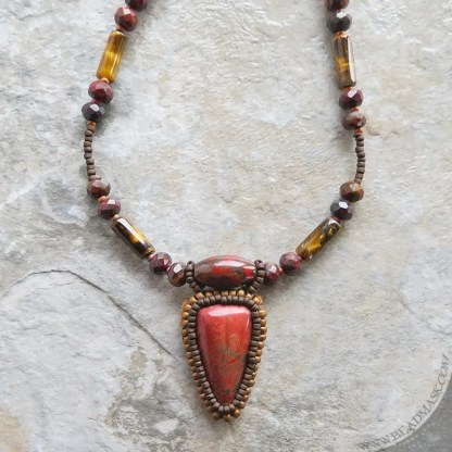 beaded red jasper layering necklace