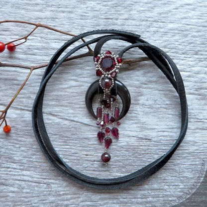 crescent moon and garnet beaded necklace