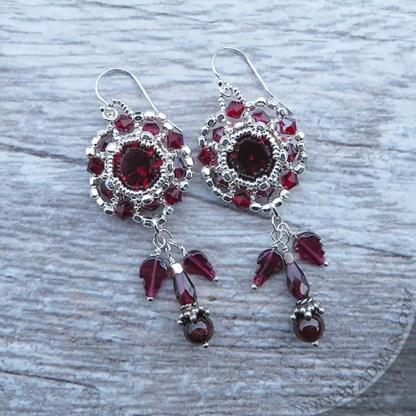 Swarovski and garnet beaded earrings with sterling silver