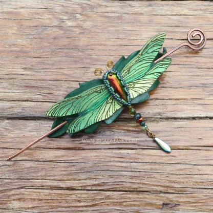 green leather dragonfly barrette