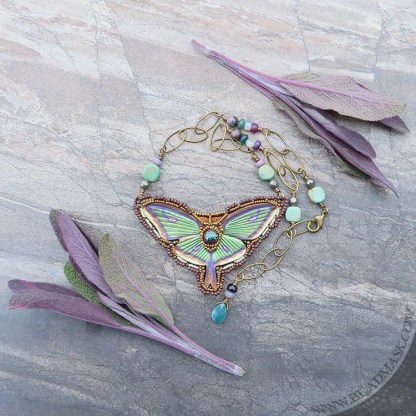 beaded leather luna moth necklace with boulder opal and gemstones