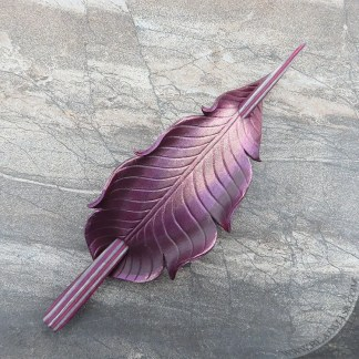 burgundy leather feather hair stick