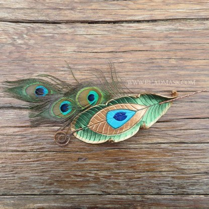 leather peacock feather hair stick barrette