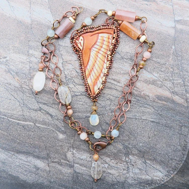 Owl & Moonstone Beaded Leather Necklace - Beadmask
