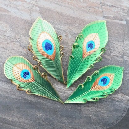 peacock feather leather barrettes