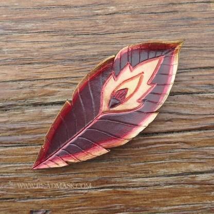 leather phoenix feather barrette