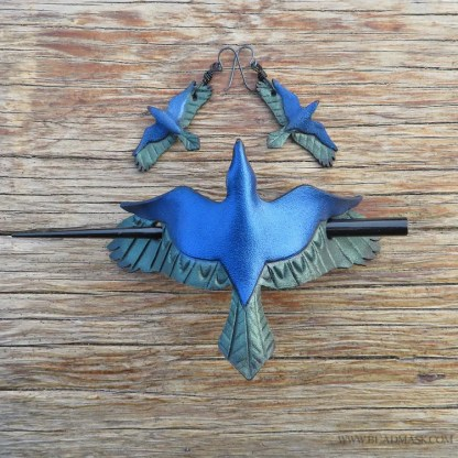 raven hair pin and earrings