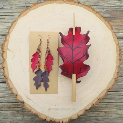 leather leaf barrette and earrings set