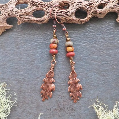 oak leaf and jasper earrings