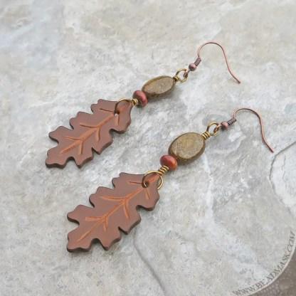 gemstone and leather leaf earrings