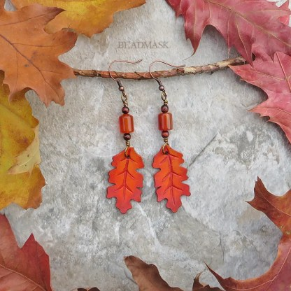 gemstone and leather leaf earrings