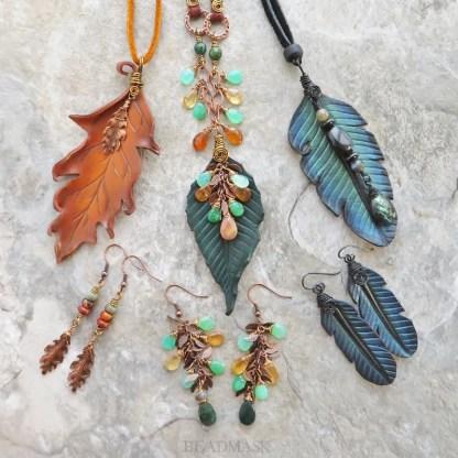 leather leaf jewelry with gemstones