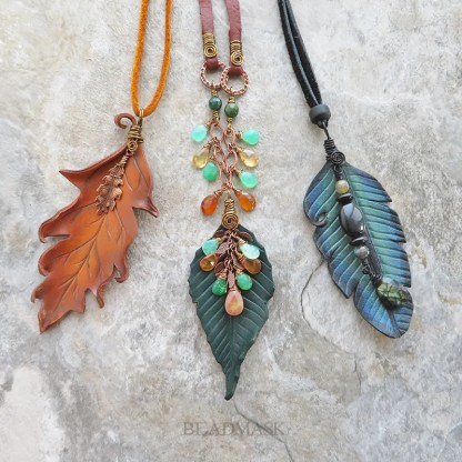 leather leaf jewelry with gemstones