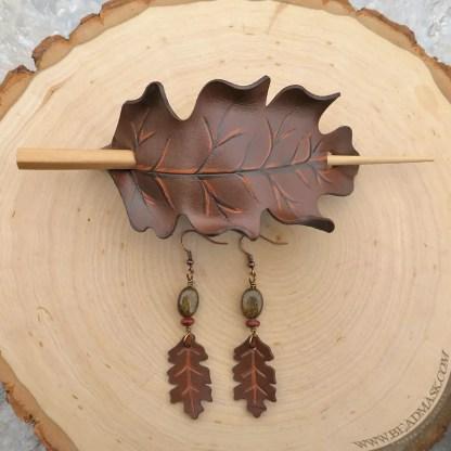 brown oak leaf leather hair slide and earrings