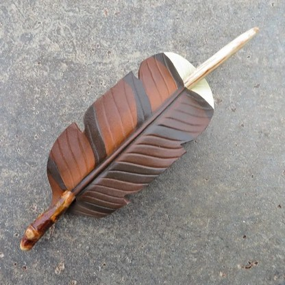 earth toned leather feather barrette with twig hairstick