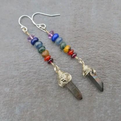 gemstone chakra earrings