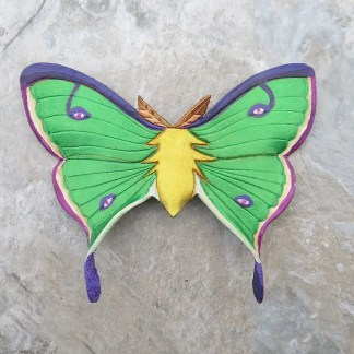 luna moth leather hair slide