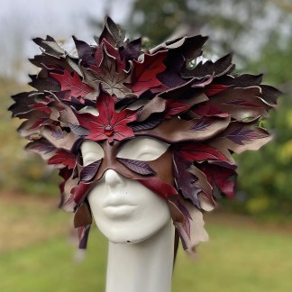 fall leaves leather mask and crown