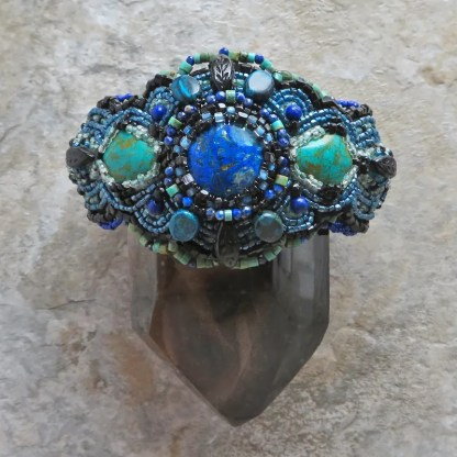 beaded cuff bracelet with natural gemstones