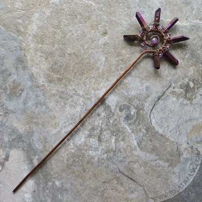Copper spiral hair stick with gemstone accents