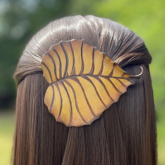 Golden birch leaf leather barrette