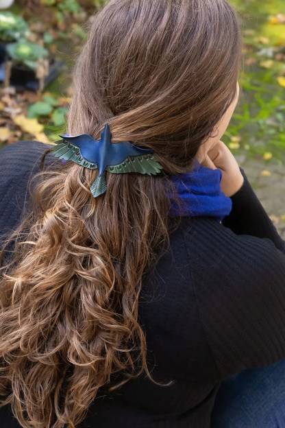leather crow hair barrette