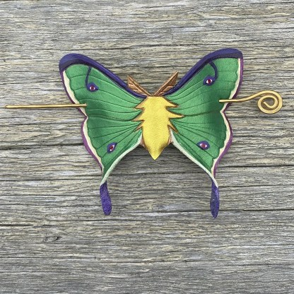 leather luna moth hair slide