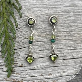 Bali silver & peridot earrings
