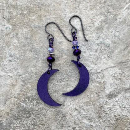 crescent moon dangle earrings