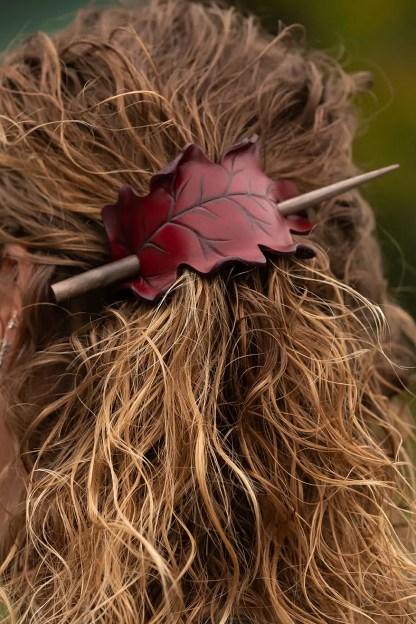 red oak leaf leather hair stick barrette or shawl pin