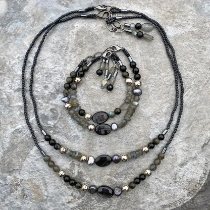 gemstone beaded bracelets and necklaces in black silver and gray