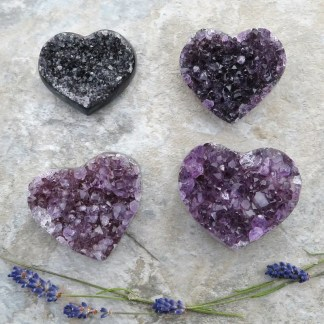 amethyst druzy crystal hearts