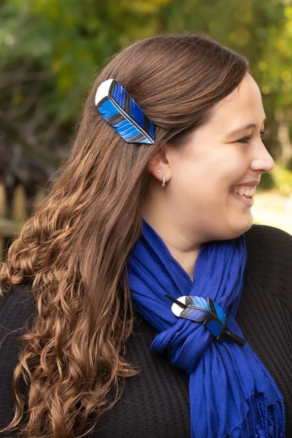 leather blue jay feather accessories