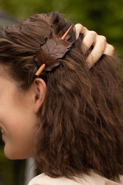brown oak leaf ponytail holder