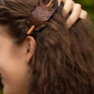 brown oak leaf ponytail holder