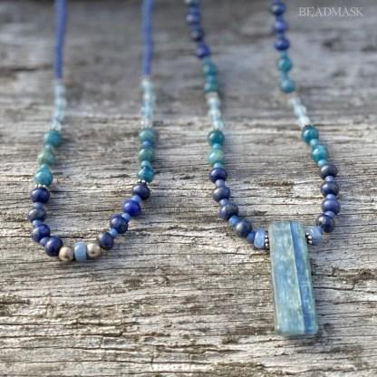 blue beaded gemstone layering necklaces