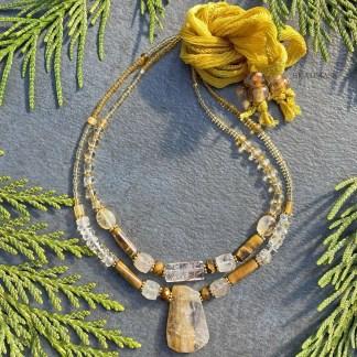 golden yellow beaded gemstone layering necklaces