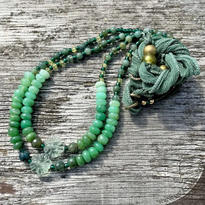 green beaded gemstone layering necklaces