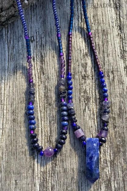 indigo blue gemstone layering necklaces