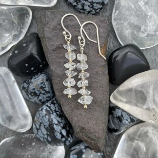 gemstone and sterling silver dangle earrings with April birthstone