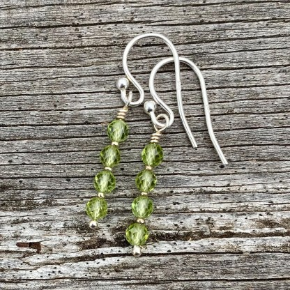 gemstone and sterling silver dangle earrings with August birthstone