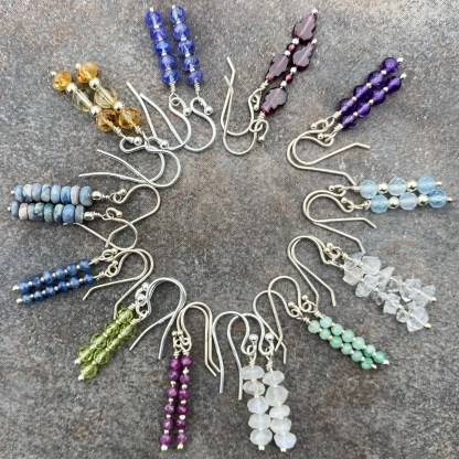 gemstone and sterling silver dangle earrings with birthstones for every month
