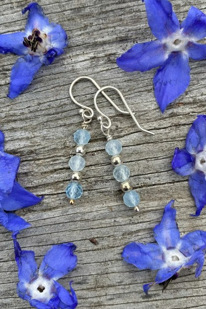 gemstone and sterling silver dangle earrings with March birthstone