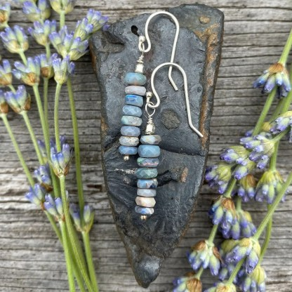 gemstone and sterling silver dangle earrings with October birthstone