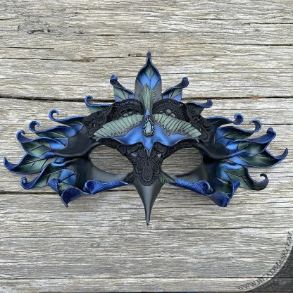 leather magpie mask with labradorite stone