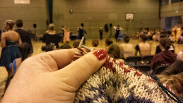 During the afternoon of the comp I was not dancing and so carried on with some of my knitting.