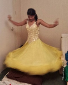 So our friend Aneesa decided that she had never had a chance to wear a proper ballroom dress so tried on 'Belle'. Much twirling ensued.