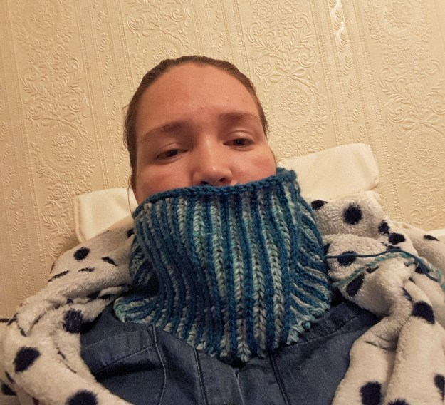 This is what my cowl looks like at the moment. Do I make it bigger or not?