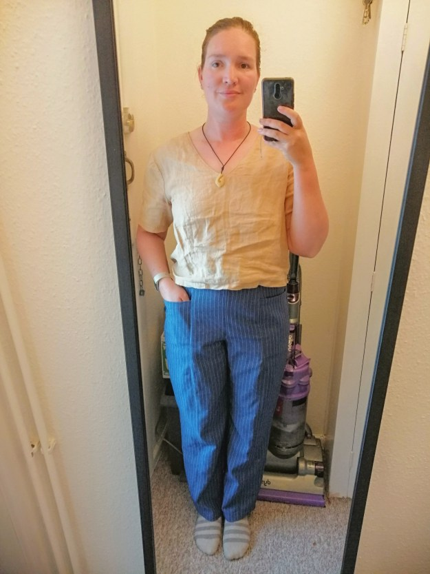 todays outfit is a wrinkly linen crop top and blue and white pin stripe pietra trousers